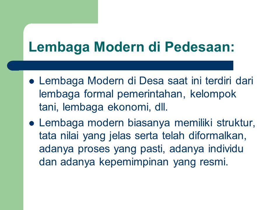 Lembaga Modern di Pedesaan: