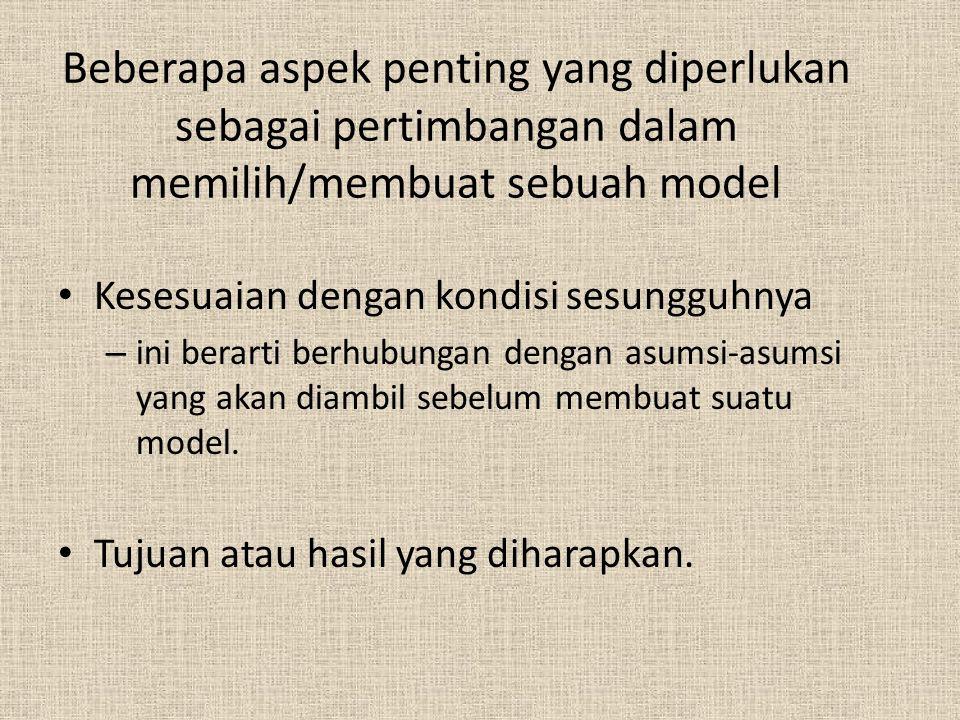 Beberapa aspek penting yang diperlukan sebagai pertimbangan dalam memilih/membuat sebuah model