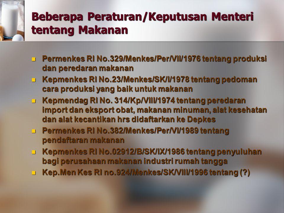Beberapa Peraturan/Keputusan Menteri tentang Makanan