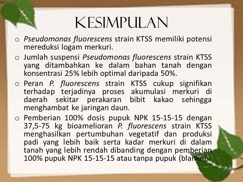 Kesimpulan Pseudomonas fluorescens strain KTSS memiliki potensi mereduksi logam merkuri.