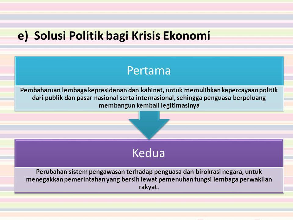 Solusi Politik bagi Krisis Ekonomi