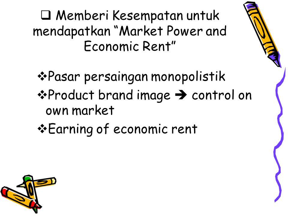 Memberi Kesempatan untuk mendapatkan Market Power and Economic Rent