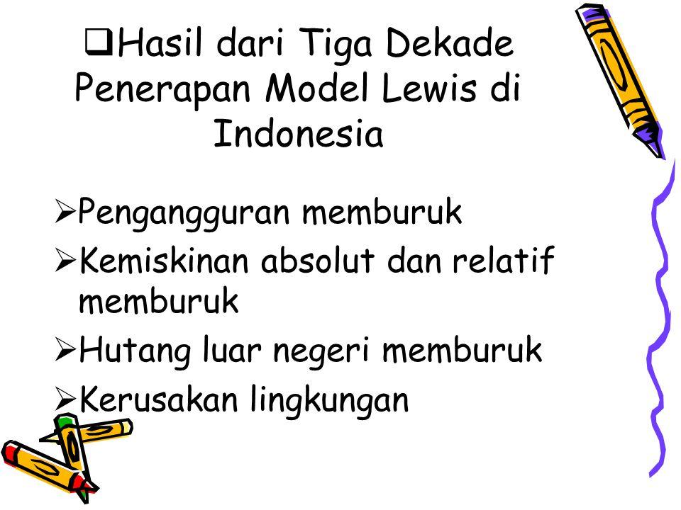 Hasil dari Tiga Dekade Penerapan Model Lewis di Indonesia