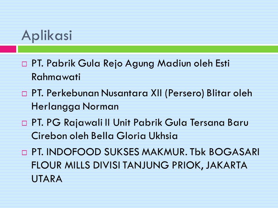 Aplikasi PT. Pabrik Gula Rejo Agung Madiun oleh Esti Rahmawati
