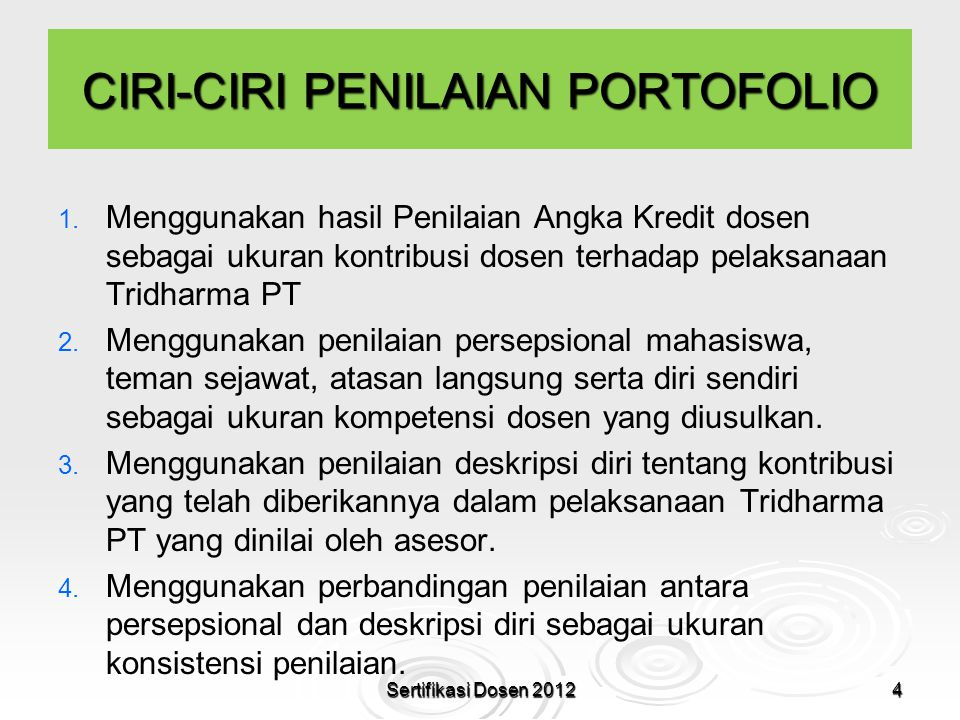 CIRI-CIRI PENILAIAN PORTOFOLIO