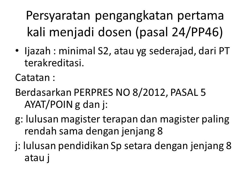 Persyaratan pengangkatan pertama kali menjadi dosen (pasal 24/PP46)