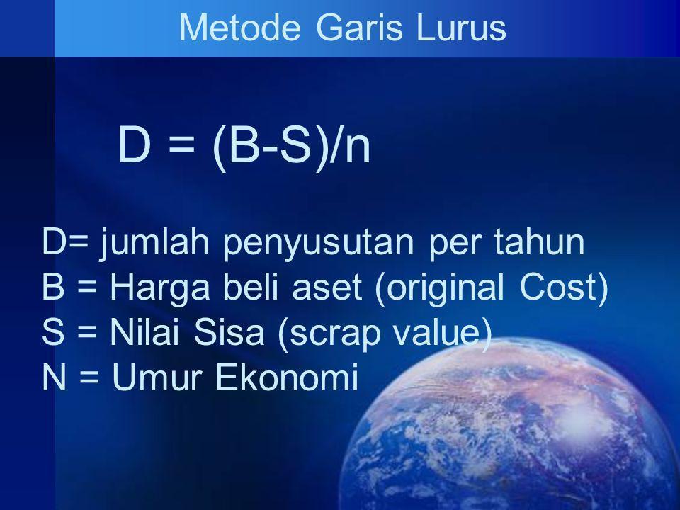D = (B-S)/n Metode Garis Lurus D= jumlah penyusutan per tahun