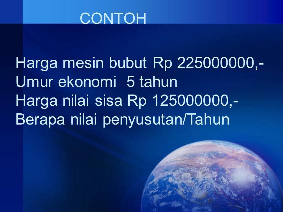 CONTOH Harga mesin bubut Rp 225000000,- Umur ekonomi 5 tahun.