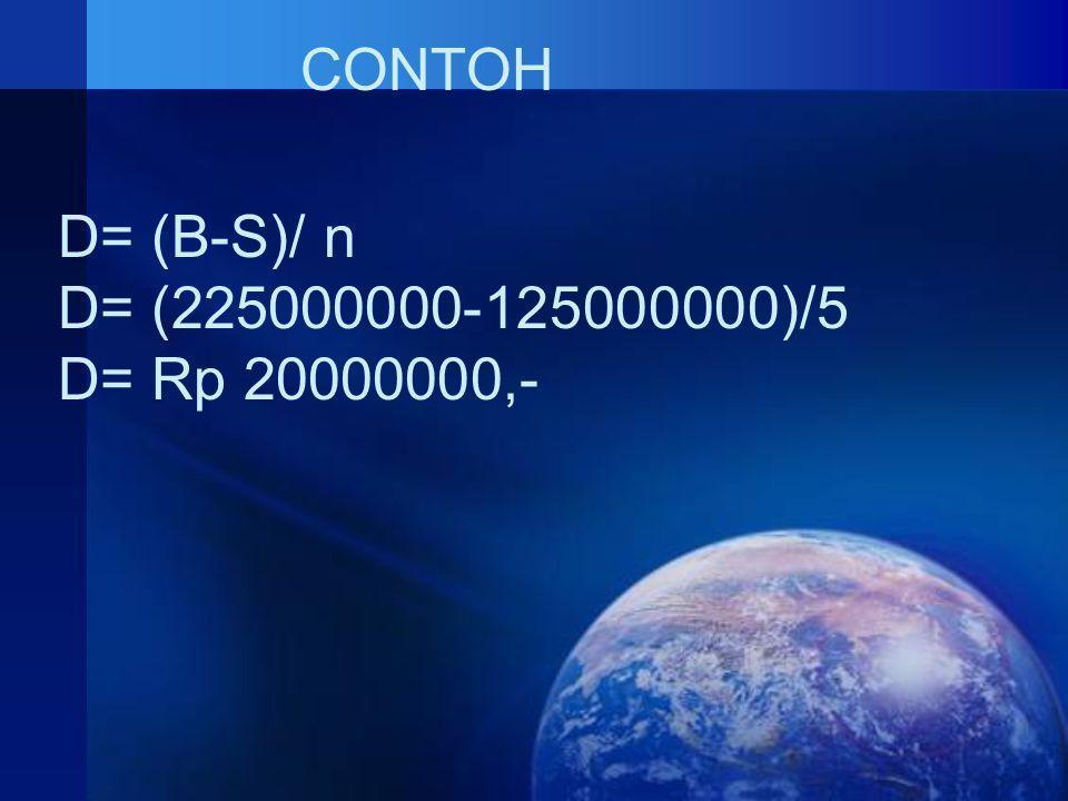 CONTOH D= (B-S)/ n D= (225000000-125000000)/5 D= Rp 20000000,-