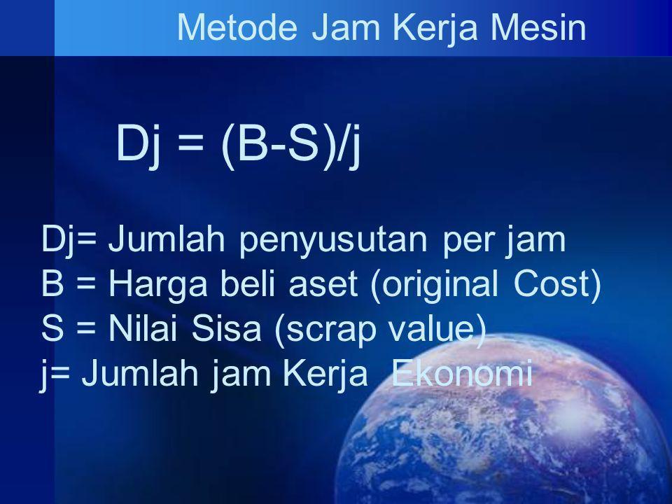Dj = (B-S)/j Metode Jam Kerja Mesin Dj= Jumlah penyusutan per jam