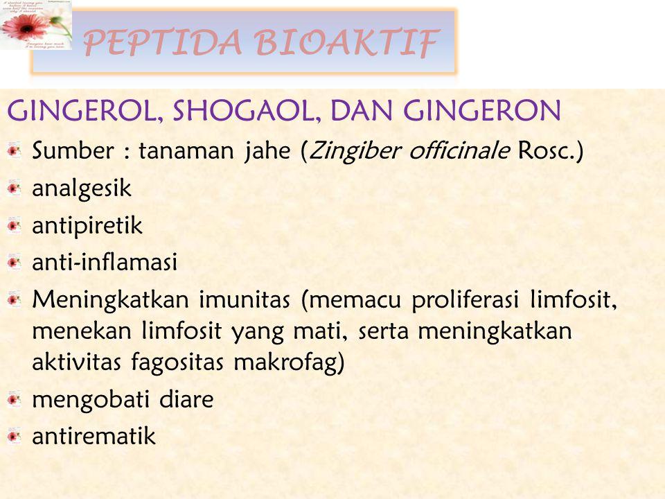 PEPTIDA BIOAKTIF GINGEROL, SHOGAOL, DAN GINGERON