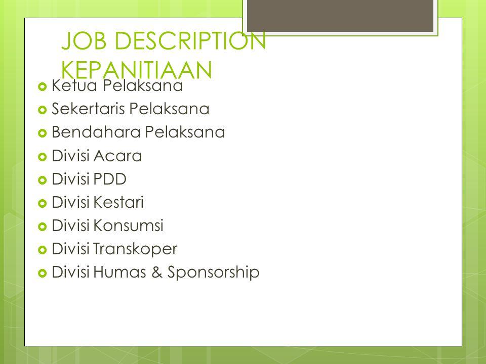 JOB DESCRIPTION KEPANITIAAN