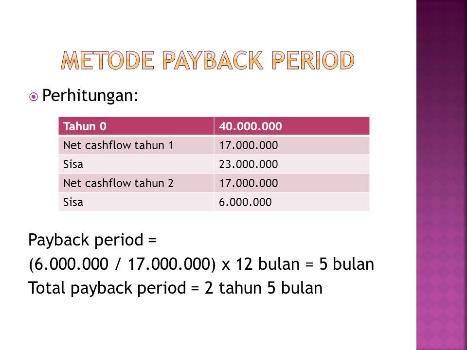 METODE PAYBACK PERIOD Perhitungan: Payback period =