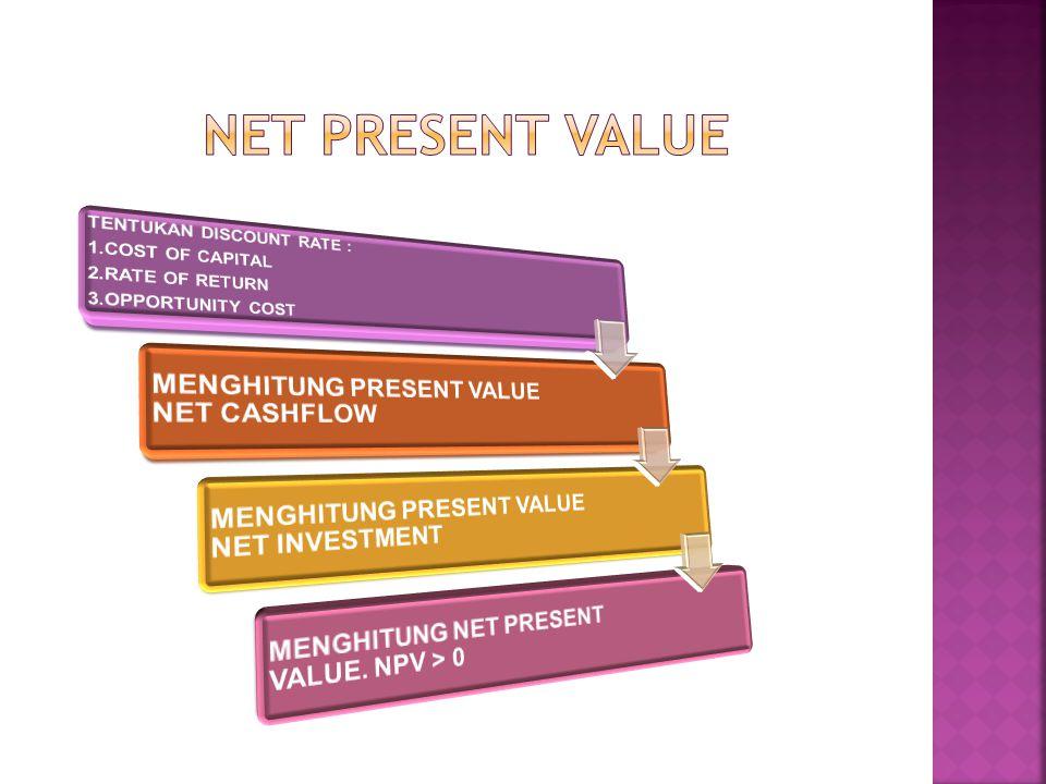 NET PRESENT VALUE MENGHITUNG PRESENT VALUE NET CASHFLOW