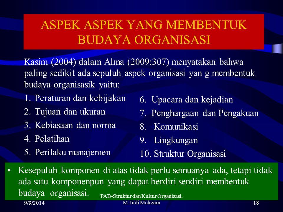 ASPEK ASPEK YANG MEMBENTUK BUDAYA ORGANISASI