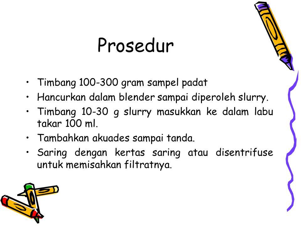 Prosedur Timbang 100-300 gram sampel padat
