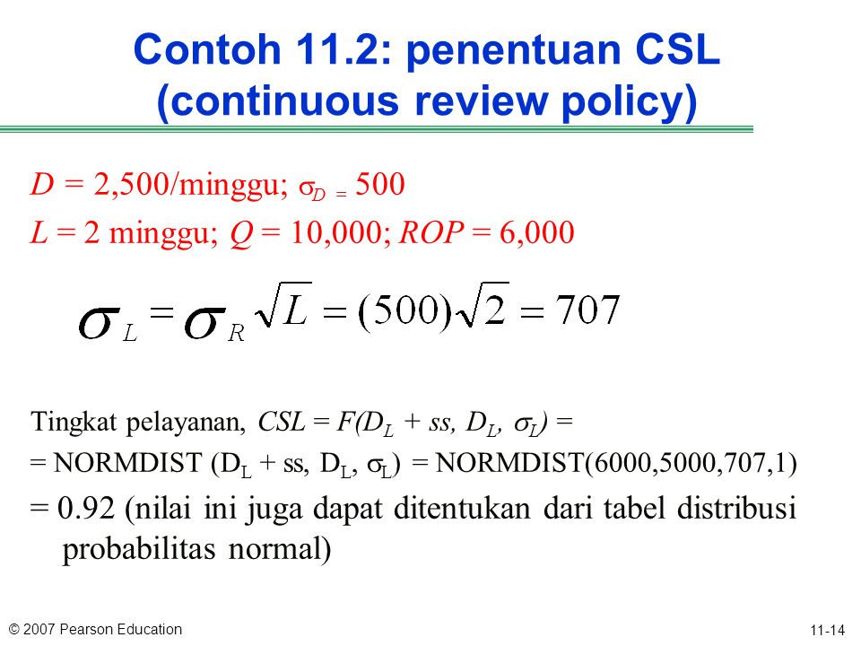 Contoh 11.2: penentuan CSL (continuous review policy)