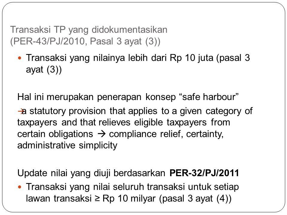 Transaksi TP yang didokumentasikan (PER-43/PJ/2010, Pasal 3 ayat (3))