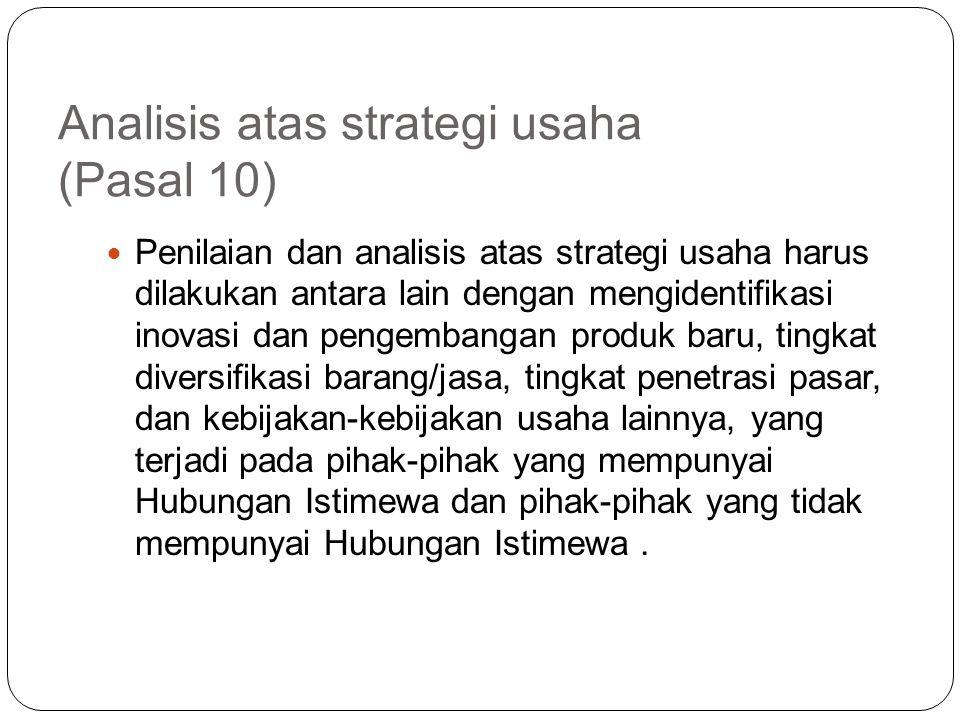 Analisis atas strategi usaha (Pasal 10)