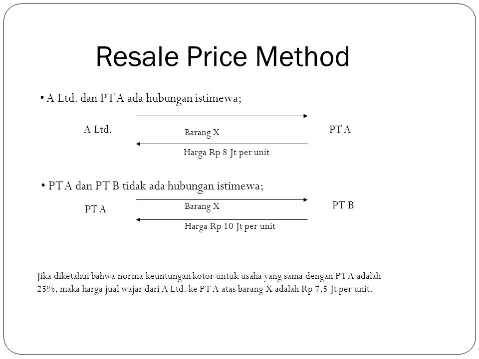 Resale Price Method A Ltd. dan PT A ada hubungan istimewa;