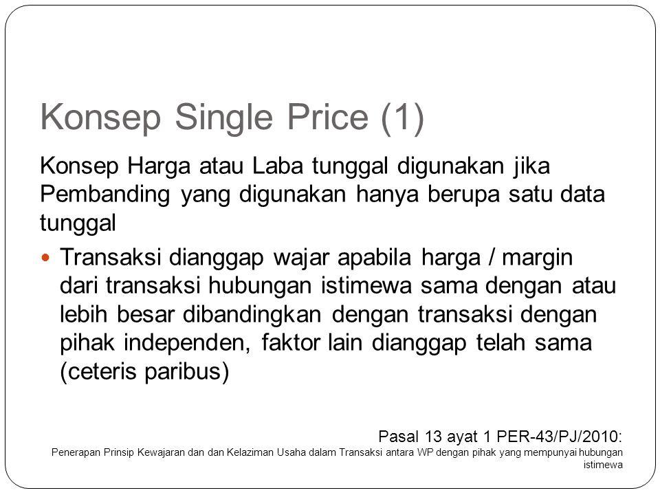 Konsep Single Price (1) Konsep Harga atau Laba tunggal digunakan jika Pembanding yang digunakan hanya berupa satu data tunggal.