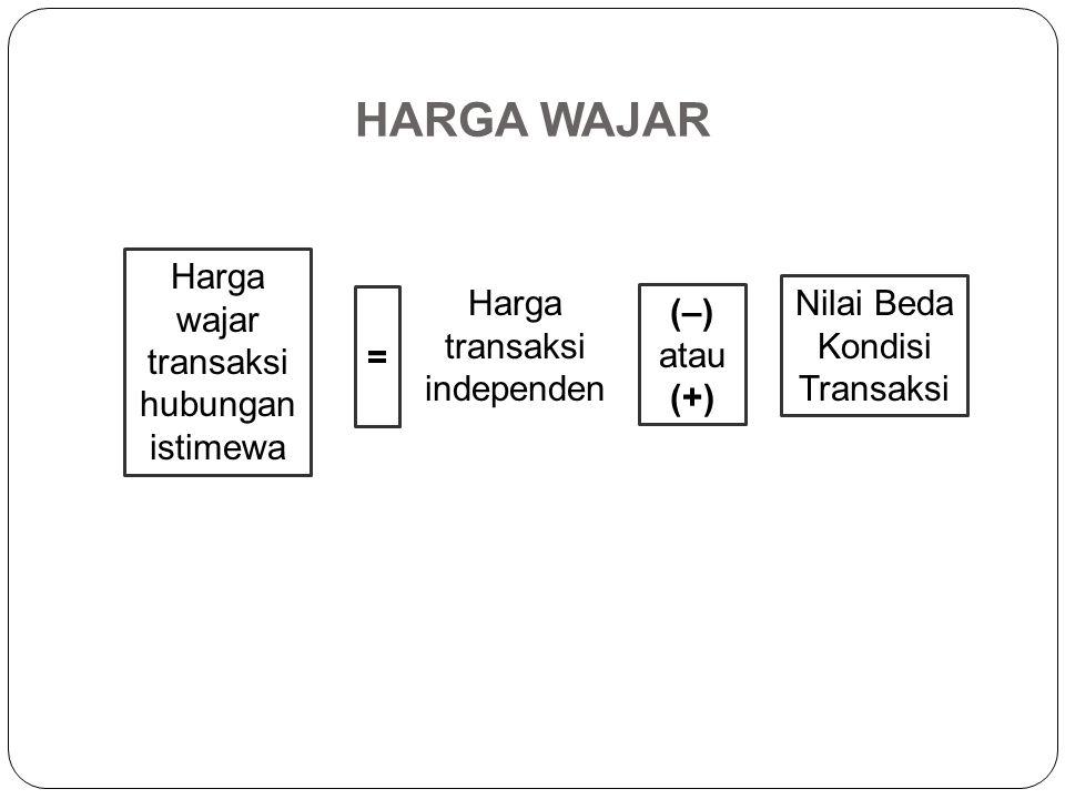 HARGA WAJAR Harga wajar transaksi hubungan istimewa Harga