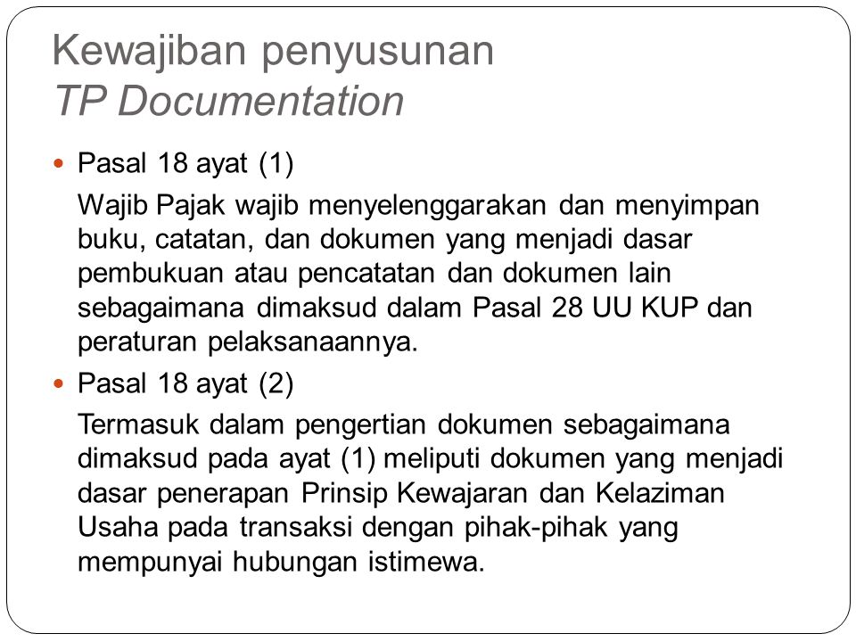 Kewajiban penyusunan TP Documentation