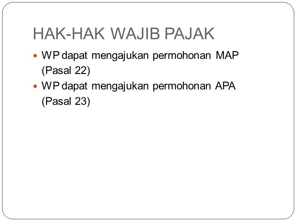 HAK-HAK WAJIB PAJAK WP dapat mengajukan permohonan MAP (Pasal 22)