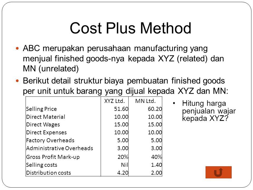 Cost Plus Method ABC merupakan perusahaan manufacturing yang menjual finished goods-nya kepada XYZ (related) dan MN (unrelated)