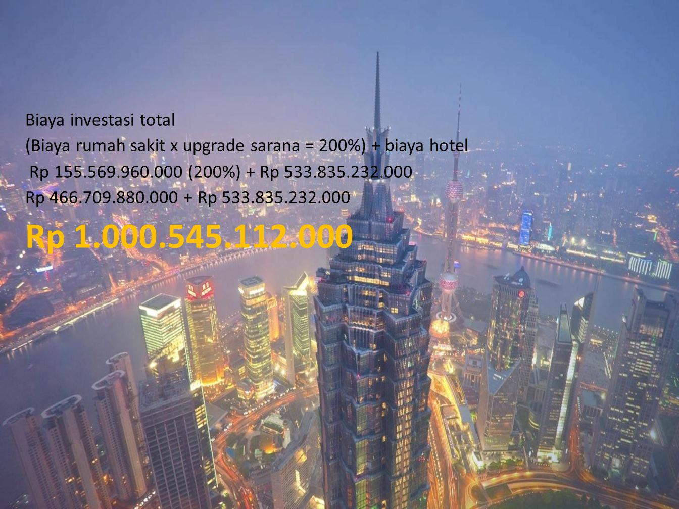 Rp 1.000.545.112.000 Biaya investasi total