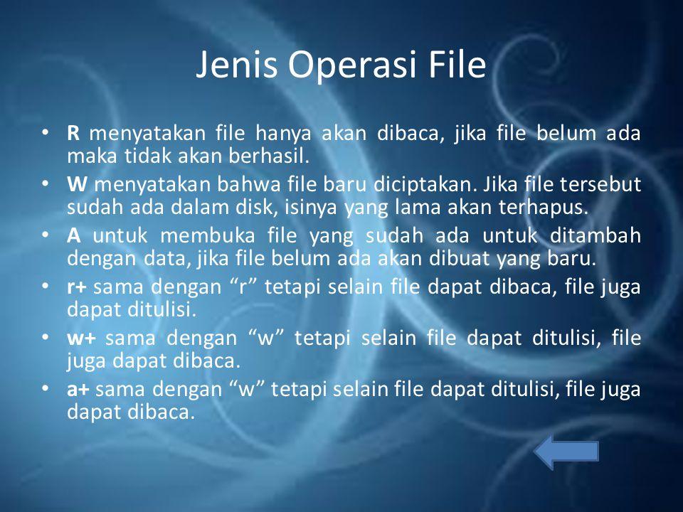 Jenis Operasi File R menyatakan file hanya akan dibaca, jika file belum ada maka tidak akan berhasil.