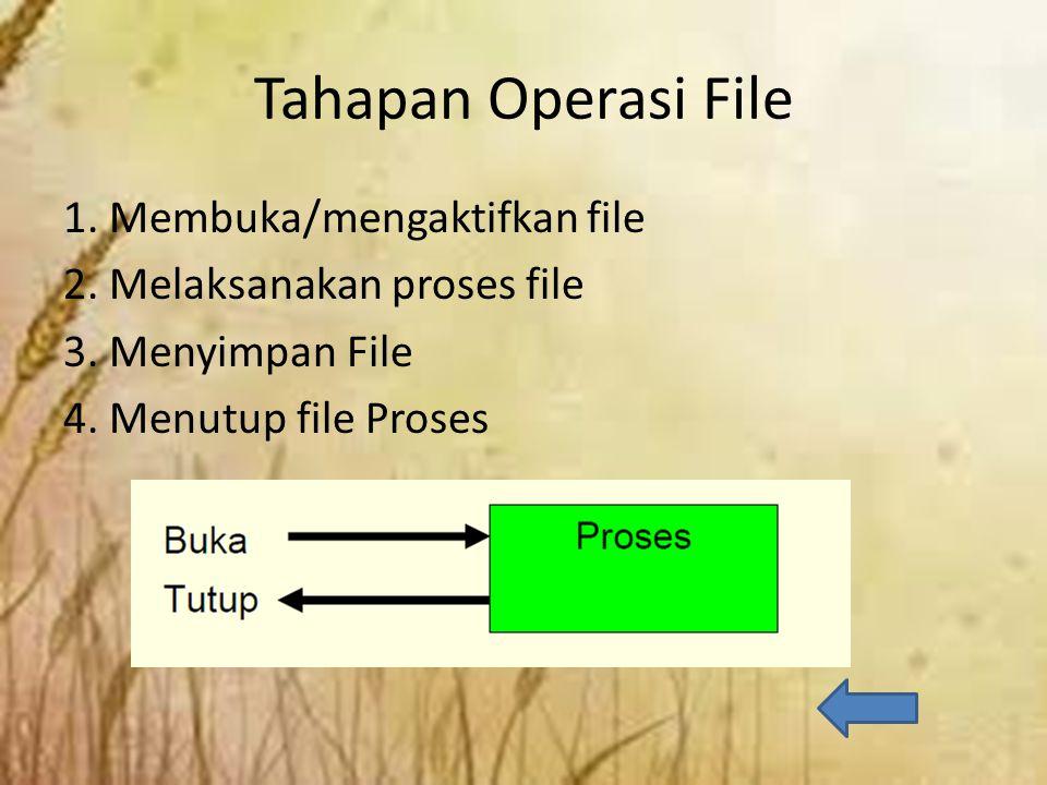 Tahapan Operasi File 1. Membuka/mengaktifkan file 2.
