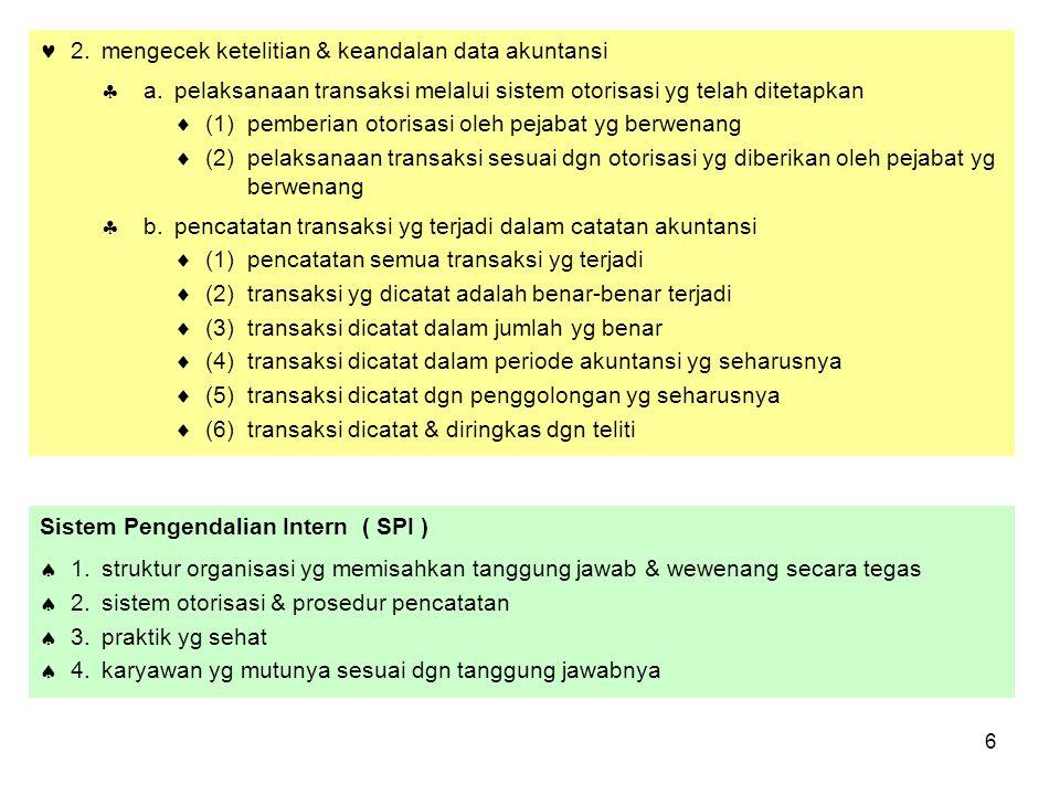  2. mengecek ketelitian & keandalan data akuntansi