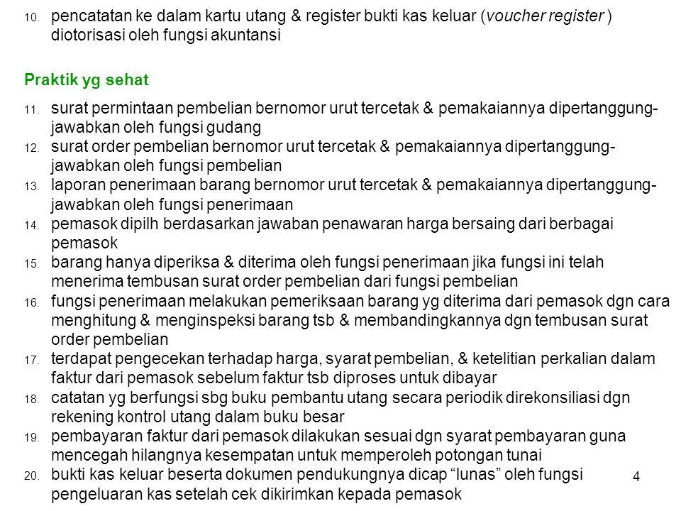 pencatatan ke dalam kartu utang & register bukti kas keluar (voucher register ) diotorisasi oleh fungsi akuntansi