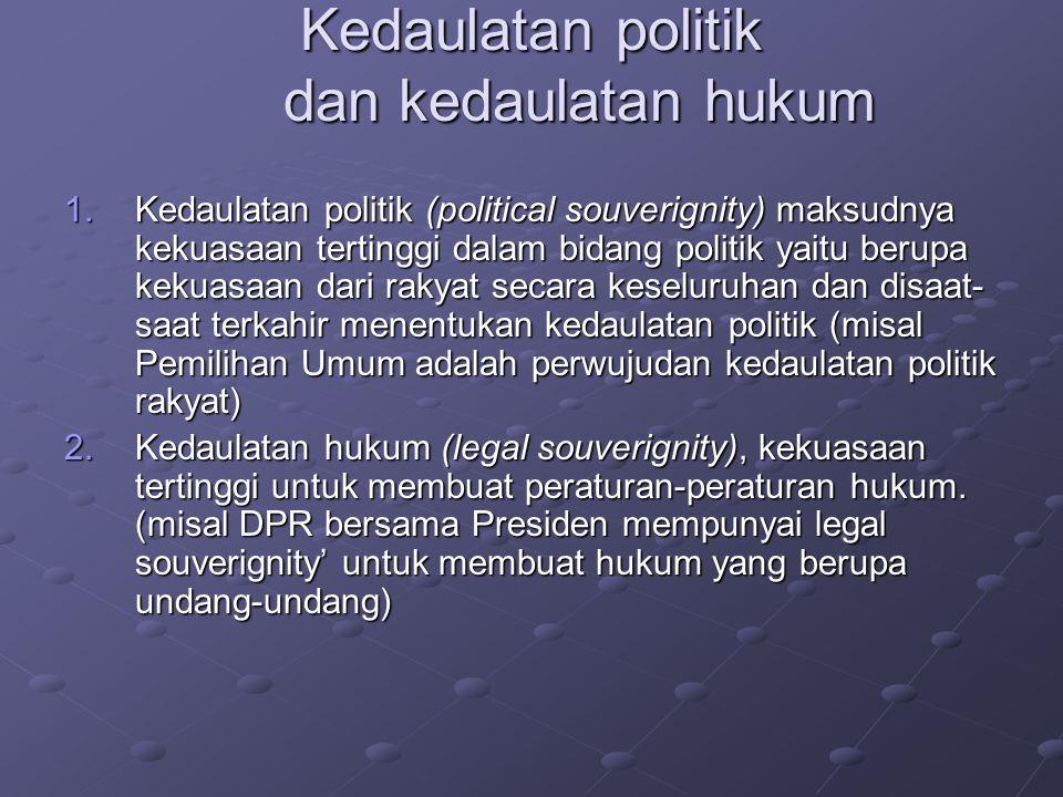 Kedaulatan politik dan kedaulatan hukum