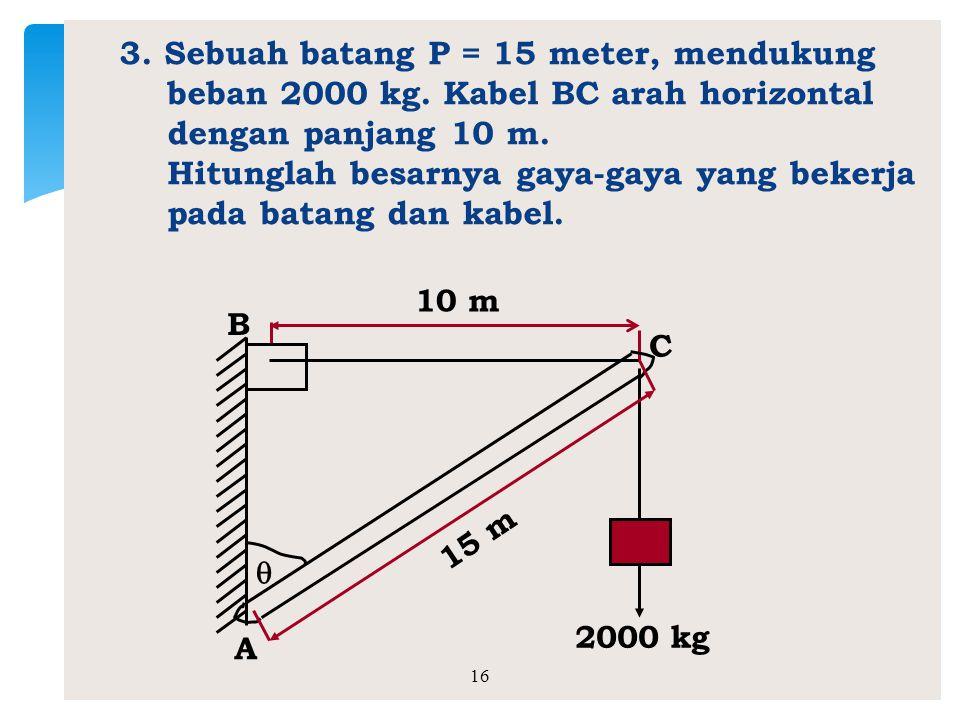 3. Sebuah batang P = 15 meter, mendukung beban 2000 kg