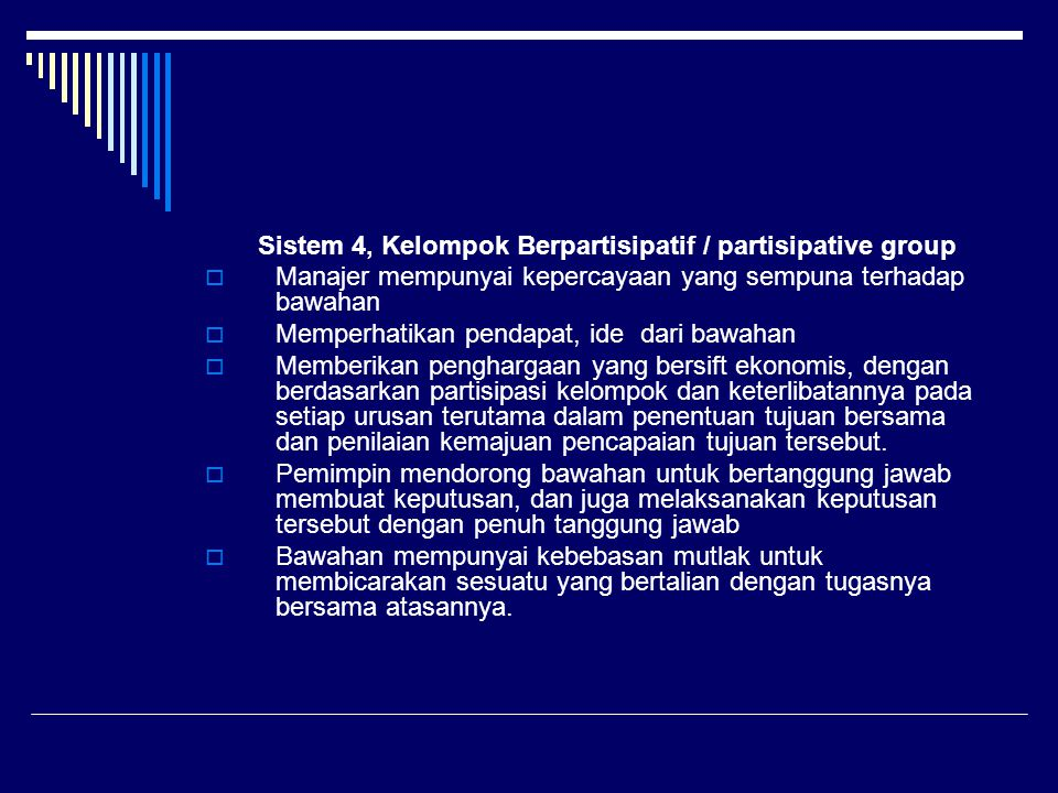 Sistem 4, Kelompok Berpartisipatif / partisipative group
