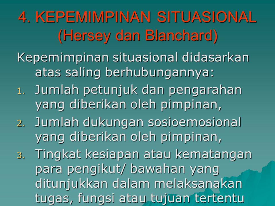 4. KEPEMIMPINAN SITUASIONAL (Hersey dan Blanchard)