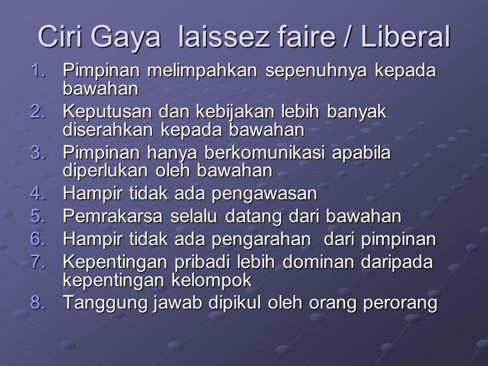 Ciri Gaya laissez faire / Liberal
