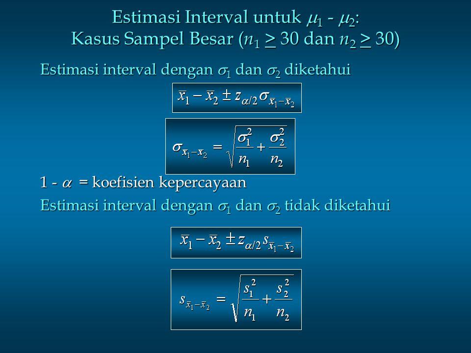 Estimasi Interval untuk 1 - 2: Kasus Sampel Besar (n1 > 30 dan n2 > 30)