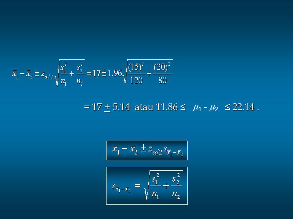 = 17 + 5.14 atau 11.86 ≤ ≤ 22.14 . 1 - 2