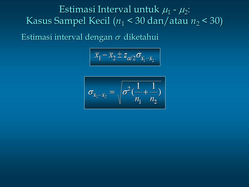 Estimasi Interval untuk 1 - 2: Kasus Sampel Kecil (n1 < 30 dan/atau n2 < 30)