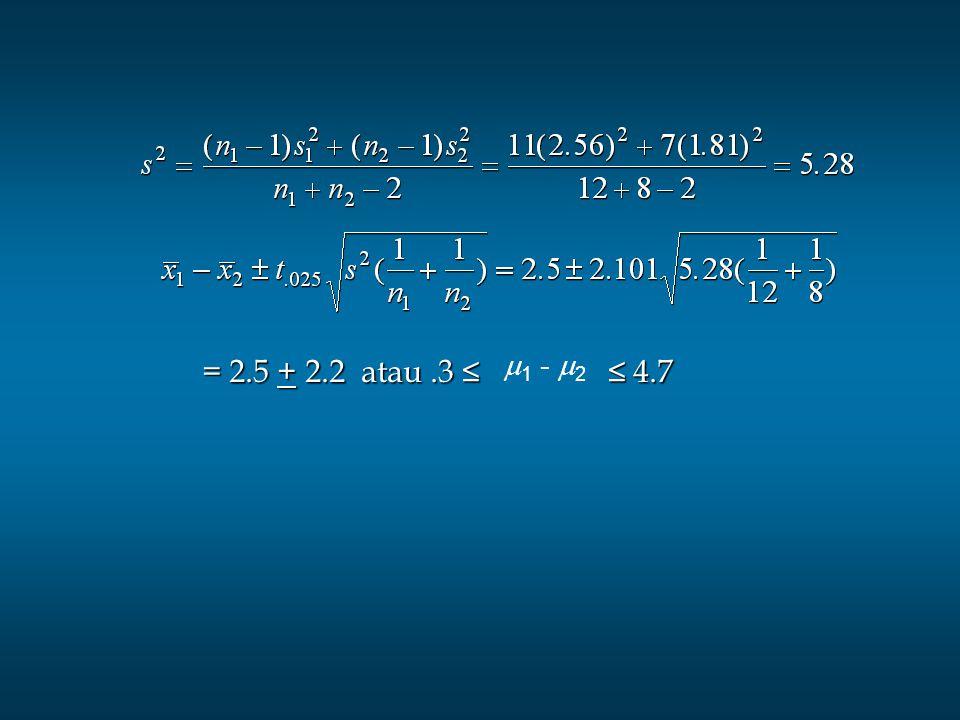 = 2.5 + 2.2 atau .3 ≤ ≤ 4.7 1 - 2