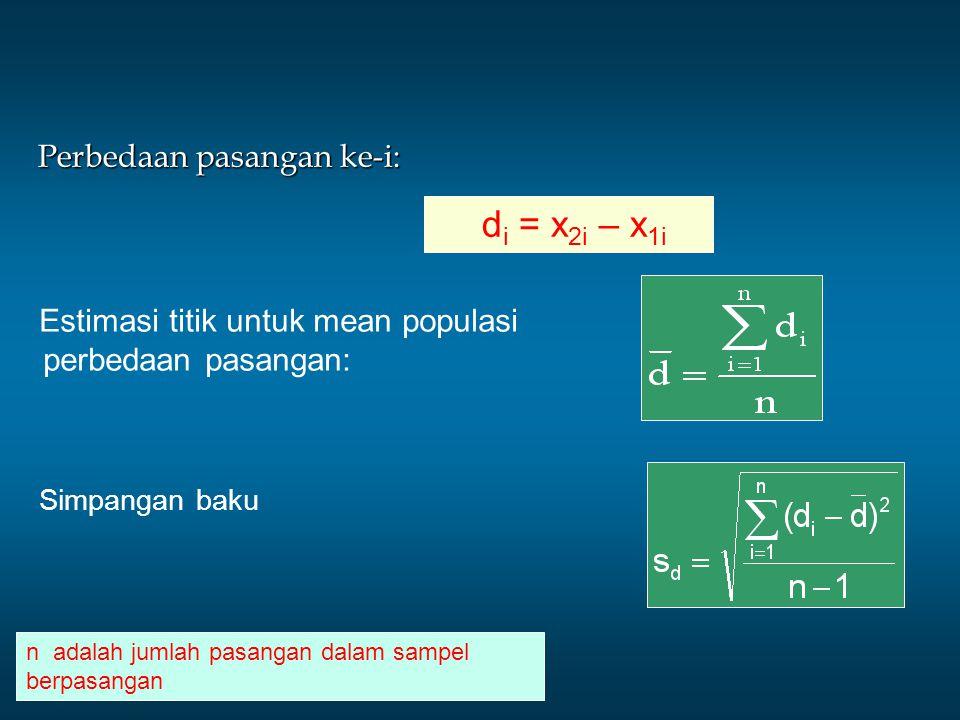 di = x2i – x1i Estimasi titik untuk mean populasi perbedaan pasangan: