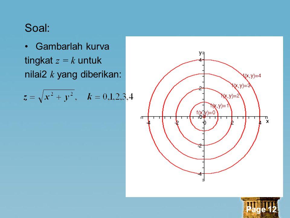 Soal: Gambarlah kurva tingkat z = k untuk nilai2 k yang diberikan: