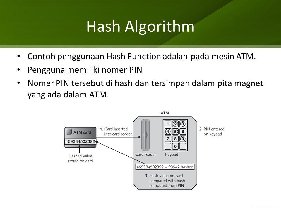 Hash Algorithm Contoh penggunaan Hash Function adalah pada mesin ATM.