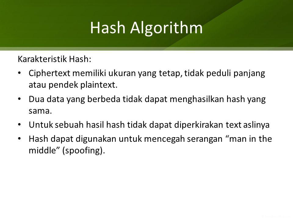 Hash Algorithm Karakteristik Hash: