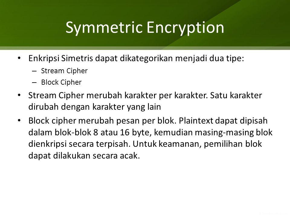 Symmetric Encryption Enkripsi Simetris dapat dikategorikan menjadi dua tipe: Stream Cipher. Block Cipher.