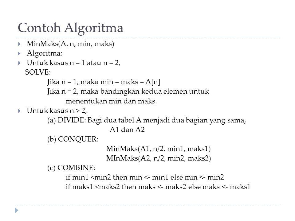 Contoh Algoritma MinMaks(A, n, min, maks) Algoritma: