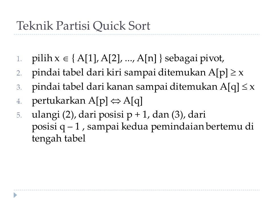 Teknik Partisi Quick Sort